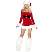 Sexy Stretch Velvet Long Sleeved Santa Helper Promo Girl Dress