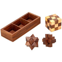 3-in-1 Wooden Puzzle Games Set - Puzzle Haven
