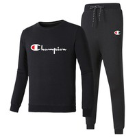 Champion 2018 autumn and winter new tide brand casual men's running two-piece suit black