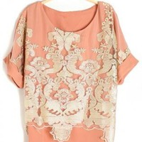 Floral Embroidered Loose Fit Blouse