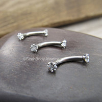 Rook earring piercing 16g vertical labret piercings body jewelry daith tragus stud bar earring diamond cz gems prong set silver eyebrow one