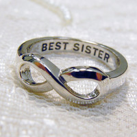 BEST SISTER  Infinity Ring  hand made infinity ring  Hand Engraved Amazing Gift for Best Sister in law Size 9