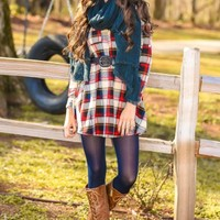 Not A Care In The World Plaid Dress-Scarlet