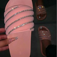 Women Fashion Pink/Black Bling Slide On Comfortable Sandals Slides