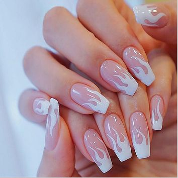 New Pink Flame Nail Patch Removable Nail Patch