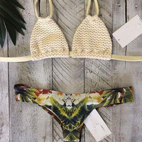 Fashion knit print Swimwear Swimsuit Bikini
