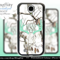 Monogram Galaxy S4 case S5 Mint Antlers Real Tree Camo White Deer Personalized Browning Samsung Galaxy S3 Case Note 2 3 Cover Country Girl