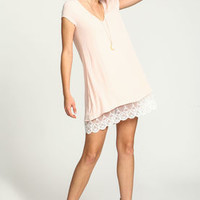 Blush Crepe Embroidered Lace Dress - LoveCulture