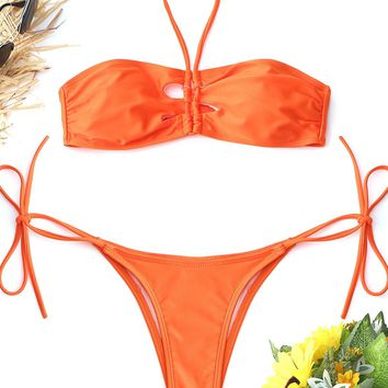 Halter High Cut String Bikini Set