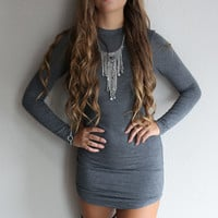 Poetic Beauty Charcoal Long Sleeve Bodycon Dress