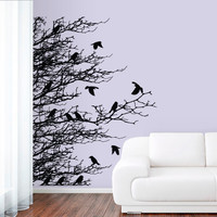Wall Decal Vinyl Sticker Decals Art Decor Design Corner Leaves Plants Birds Flower Branch Trees foliage Dorm Bedroom House Fashion (r1031)