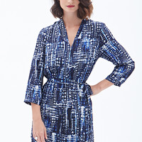 LOVE 21 Abstract Print A-Line Dress Beige/Navy