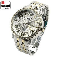 Jewelry Kay style Men's Hip Hop Fashion Iced Out Two Tone Metal Band Watches 7176 TT