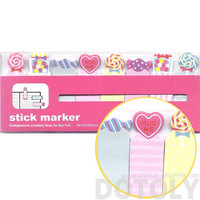 Colorful Lollipop Gumballs Candy Hearts and Sweets Memo Post-it Index Bookmark Tabs | Cute Affordable Food Themed Stationery