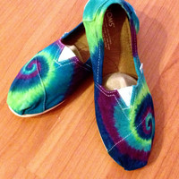 Tie Dye Toms Women's Shoes Peacock Color Spiral