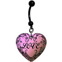 Heart Pink Artiste Love Belly Ring | Body Candy Body Jewelry