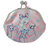 Fluff Candy Lollipop Sweet Dots Kisslock Large Coin Purse Wallet