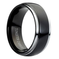 Personalized Engraved Tungsten Carbide Ring Domed High Polish Black Enamel Plated Rounded Edge 8mm (Free Laser Engraving)