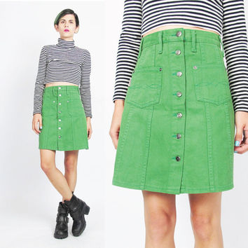 90s Button Front Mini Skirt Bright Green Mini Skirt High Waist Mini Skirt Colored Denim Skirt Pockets Vintage A Line Flared Skirt  (S)