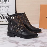 LV Louis Vuitton Trending Women's Black Leather Side Zip Lace-up Ankle Boots   Shoes High Boots