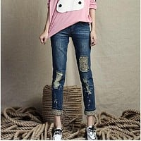 Ripped High Waist Rolled Hem Skinny Holes Slim Leopard grain Patchwork Fashion Jeans