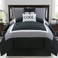 4 Pc Modern Teens Black and White, Comforter Set, Bed in a Bag Twin Size Bedding By Plush C Collection