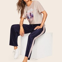 Graphic Print Tee & Tape Side Wide Leg Pants