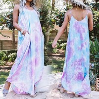 Women's New Tie-Dye Loose Sling Straight Dress