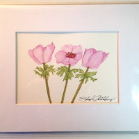 Painting of Pink Blue Anemone, Watercolor, #3, Original, 5x7, Soft Greens and Blues and Purples, in 8x10 Mat, Frame Ready, NOT A PRINT