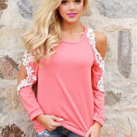 Pink Cold Shoulder Lace Sleeve T-Shirt 13288