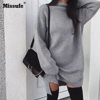 Missufe Long Sleeve Fitness Hoodies Women Turtleneck Loose Sweatshirt Pullovers Split Side Jumpers Harajuku Gray Hooded Women