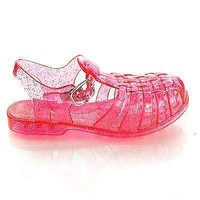 Suzy01K by Bamboo, Children's Jelly Round Toe Fisherman Caged Sling back Flat Sandals