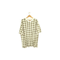 90s grunge plaid henley t-shirt / vintage 1990s tee / baggy