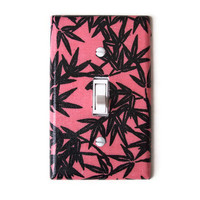 Coral & Black Floral Single Toggle Switchplate, wall decor