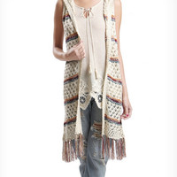 Open Cable Knit Long Sleeveless Vest Hoodie-Natural with Line of Color