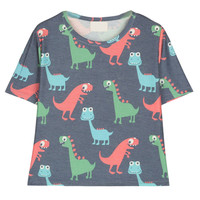 Dark Blue Cartoon Dinosaur Print Short Sleeve T-Shirt