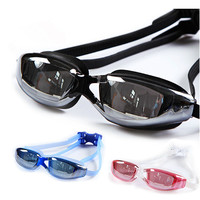 Clear Swimming Goggles Adult Swim Goggles with Mirror Coated Lense and Earplug Anti-fog UV Protection Swim Glasses for Men Women