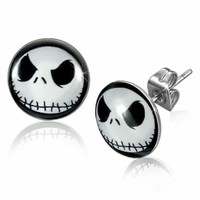 JACK SKELLINGTON Nightmare Before Christmas Stud Earrings - 10 mm  USA SELLER