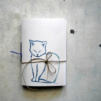 cat travel journal hand  Stitched  blank  notebook  with blue cat linocut - christmas in july cij