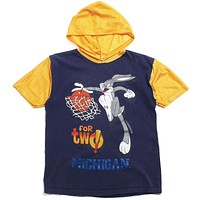 University of Michigan Looney Tunes Bugs Bunny For Two Basketball Hooded  T-Shirt Navy (Youth Large)