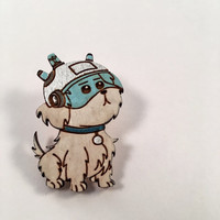 Snuffles Rick & Morty Wood Pin, Snowball Wooden Brooch or Magnet