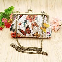 Butterfly Clutch Purse with Buckle Clasp