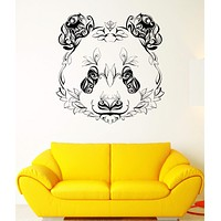 Wall Vinyl Sticker Decal Panda Animal Head Color Pattern Petals Plants Unique Gift (ed412)