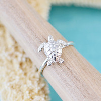 Sea Turtle Ring - Sterling Silver Turtle - Nautical Jewelry - Sea Turtle Jewelry - Silver Sea Turtle - Beach Jewelry