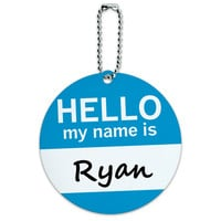 Ryan Hello My Name Is Round ID Card Luggage Tag