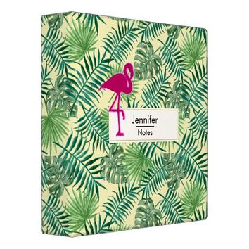 Tropical Leaves Pattern and Pink Flamingo 3 Ring Binder