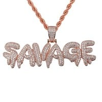 Men's Rose Gold Tone Savage Drip Iced Out Pendant Chain