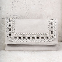 Bound Together Grey Woven Clutch