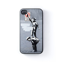 Graffiti is Crime Black Hard Plastic Case for Apple iPhone 4 / 4s by Banksy