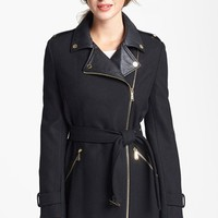 MICHAEL Michael Kors Faux Leather Collar Wool Blend Coat | Nordstrom